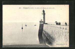 AK Tréport, La Jetée et le Phare, par calme pat, Leuchtturm