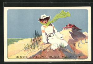 Lithographie Knocke s/Mer, Le Zoute, Dame am Strand und Golfer