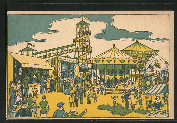 AK Volksfest, Rutsche, Karussel, Riesenschau 0