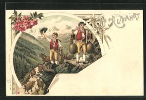 Lithographie Alpfahrt, Kuhauftrieb, Senner in Tracht mit Glocken