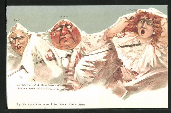 Lithographie Killinger Nr. 115, Die Bahn am Ziel! Drei Opfer des Fortschritts, Berg mit Gesicht / Berggesichter 0