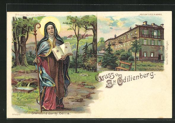 Lithographie St. Odilienberg, Wallfahrtskirche, Standbild der hl. Odilia, Halt gegen das Licht: Ansicht bei Nacht 0
