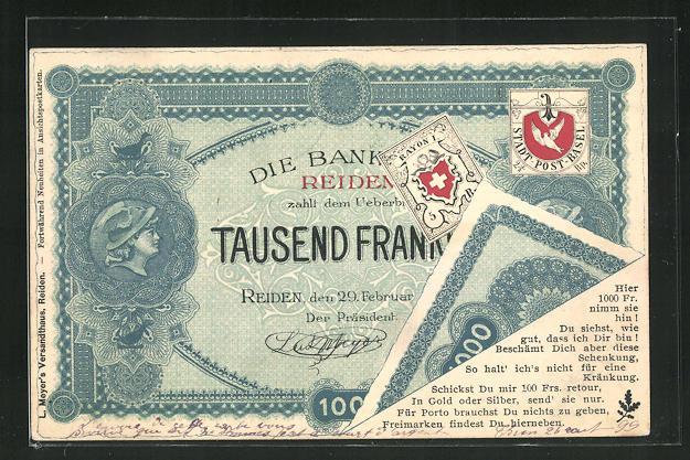 AK Private Stadtpost Basel, Tausend Franken Geldschein der Bank Reiden 0