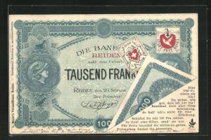 AK Private Stadtpost Basel, Tausend Franken Geldschein der Bank Reiden