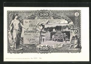 AK Sarnen, Häuser im Ort, Ansicht auf Geldschein