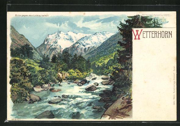 Lithographie Wetterhorn, Panoramablick auf den Berg, Halt gegen das Licht: Alpenglühen 0