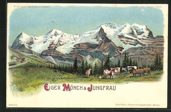 Lithographie Eiger, Mönch & Jungfrau, Halt gegen das Licht: Alpenglühen 0