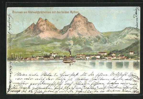 Lithographie Künzli Nr. 5022: Brunnen am Vierwaldstättersee mit den Mythen, Berg mit Gesicht / Berggesichter 0