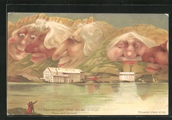 Lithographie Killinger Nr. 105: Mauerblümchen-Gruss von der Grimsel, Berg mit Gesicht / Berggesichter 0