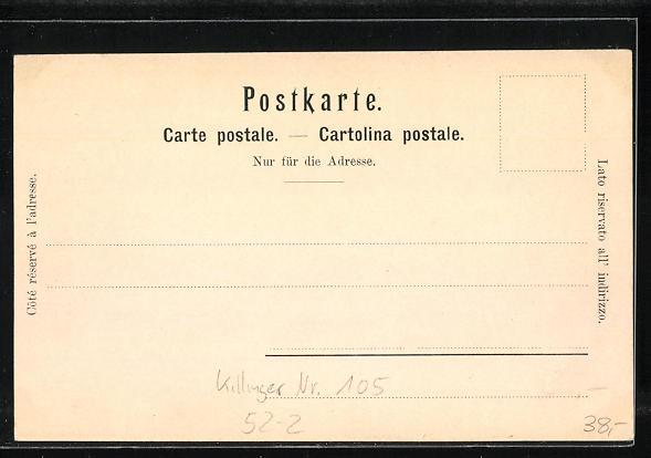 Lithographie Killinger Nr. 105: Mauerblümchen-Gruss von der Grimsel, Berg mit Gesicht / Berggesichter 1