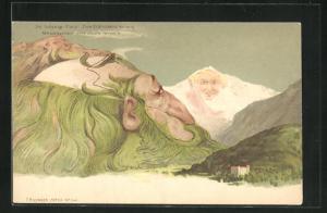 Lithographie Killinger Nr. 104: Die Schynige Platte - Eine Erdrindenerkaltung, Berg mit Gesicht / Berggesichter