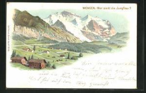 Lithographie Künzli Nr. 5006: Wengen, Wer sieht die Jungfrau, Berg mit Gesicht / Berggesichter