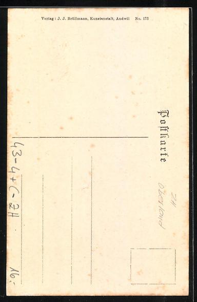 AK Zürich, M. Bosshard steht mit Glocken am Gürtel vor einer Haustür, Silvestersitten im Zürcher Oberland, Exzentriker 1