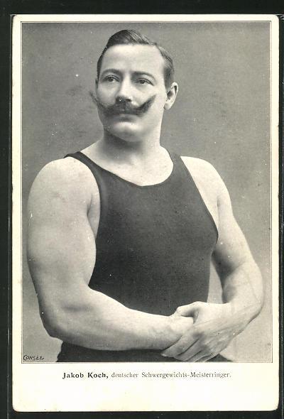 AK Ringer Jakob Koch, deutscher Schwergewichts-Meisterringer, Halbportrait 0