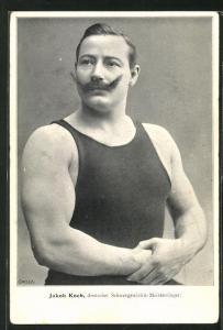 AK Ringer Jakob Koch, deutscher Schwergewichts-Meisterringer, Halbportrait