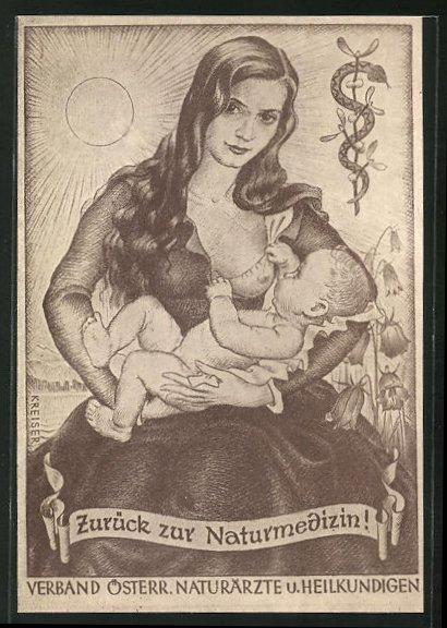 AK Mutter gibt ihrem Kind die Brust, Verband Österr. Naturärzte u. Heilkundigen, Homöopathie 0
