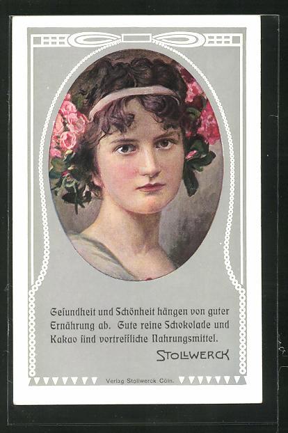 AK Mädchenportrait mit Blumen im Haar, Jugendstil, Reklame für Stollwerck Kakao und Schokolade 0