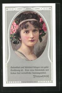 AK Stollwerck Reklame für Kakao und Schokolade, Mädchenportrait mit Blumen im Haar, Jugendstil