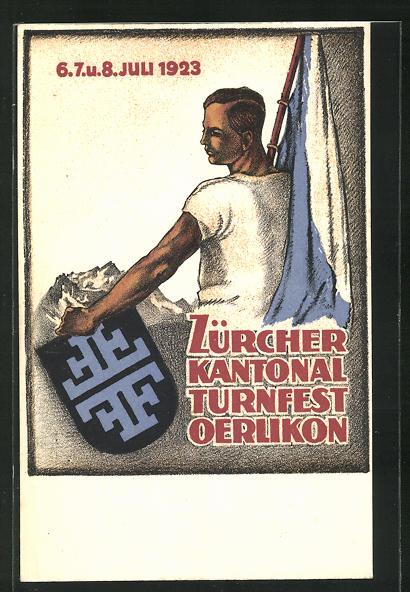 AK Zürich, Kantonal-Turnfest Oerlikon 1923, Turner mit Flagge und Wappen 0