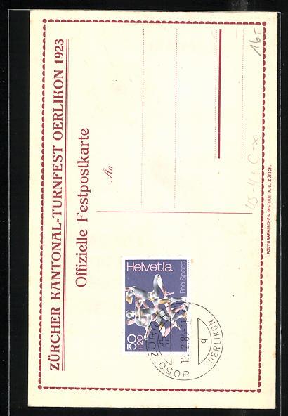 AK Zürich, Kantonal-Turnfest Oerlikon 1923, Turner mit Flagge und Wappen 1