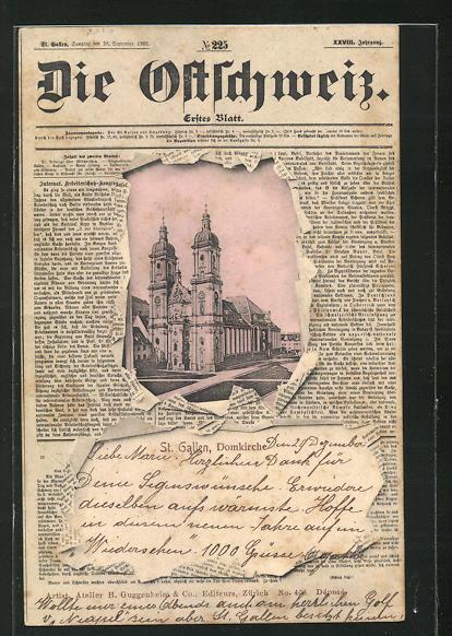 AK St. Gallen, Domkirche durch die aufgerissene Zeitung Die Ostschweiz gesehen 0