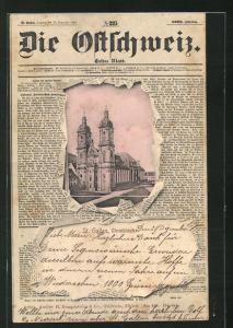 AK St. Gallen, Domkirche durch die aufgerissene Zeitung Die Ostschweiz gesehen