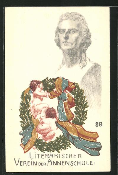AK Dresden, Literarischer Verein der Annenschule, Putti im Lorbeerkranz, Schiller Denkmal 0