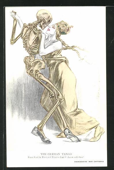 Künstler-AK Louis Raemaekers: Der Tod tanzt mit der Dame, The German Tango 0