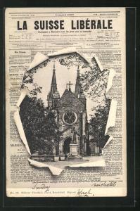 AK Neuchatel, Blick auf die Kirche durch die aufgerissene Zeitung La Suisse Libérale