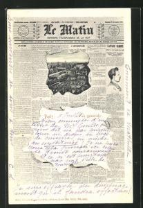 AK Paris, Ortsansicht durch die aufgerissene Zeitung Le Matin