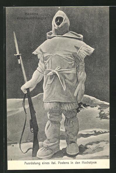AK Ausrüstung eines italienischen Postens in den Hochalpen, Soldat der Infanterie 0