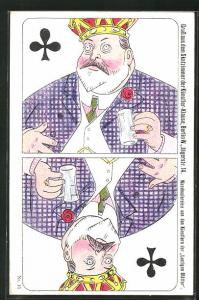 AK König Edward VII. von England als Kreuz-König im Kartenspiel
