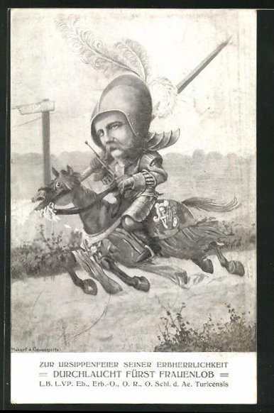AK Zürich, Schlaraffia d. Ae. Turicensis, Ritter auf seinem Pferd 0
