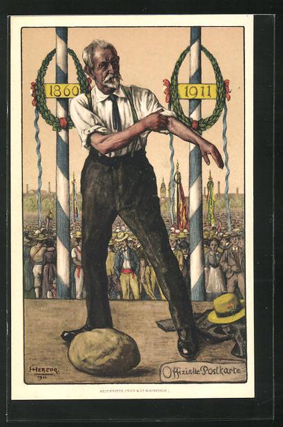 AK Winterthur, Jubiläums-Turnfest und Fahnenweihe 1911, Mann auf dem Podium will einen Stein heben 0
