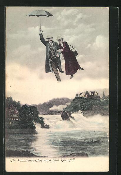 AK Rheinfall, Fliegende Menschen über dem Wasserfall 0