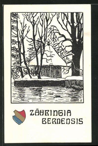 AK Bern, Studentenwappen Zähringia Bernensis, Uferpartie im Winter 0