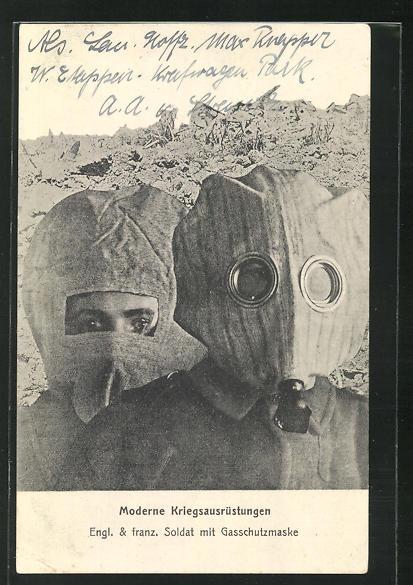 AK Englischer und französischer Soldat der Infanterie mit Gasschutzmaske 0