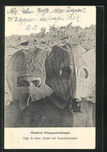 AK Englischer und französischer Soldat der Infanterie mit Gasschutzmaske