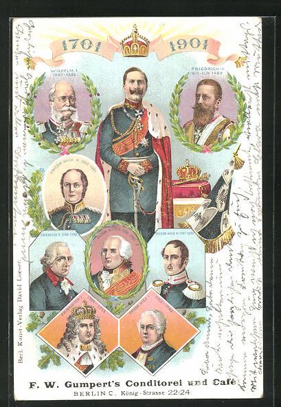AK Friedrich Wilhelm III. von Preussen und König Friedrich II. (der Grosse) im Portrait, Bildnis Kaiser Wilhelm II. 0