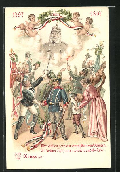 AK Menschen jubeln zu Kaiser Wilhelm I., 1797 - 1897 0