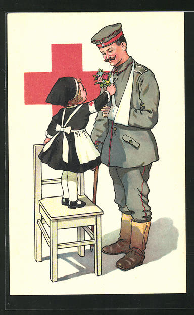 AK Kleine Krankenschwester überreicht dem verwundeten Soldaten einen Blumenstrauss, Rotes Kreuz 0