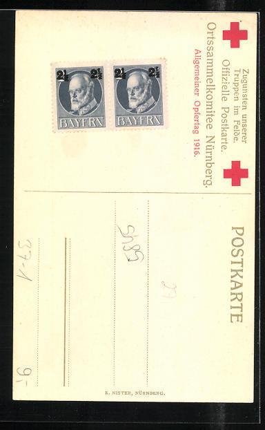 AK Kleine Krankenschwester überreicht dem verwundeten Soldaten einen Blumenstrauss, Rotes Kreuz 1