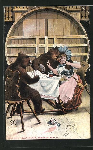AK Bären schäkern beim Kartenspiel mit der jungen Dame 0