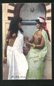 AK Arabische nackte Frauen an der Zisterne