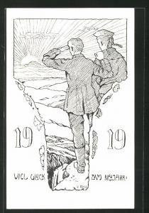 AK Kriegsgefangene blicken in die Ferne, Viel Glück zum Neujahr, 1919