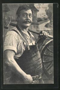 AK Schmied Xaver Terofal mit Hammer in der Hand