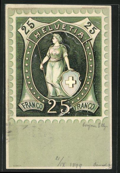 AK Briefmarke Helvetia 25, Halt gegen das Licht 0