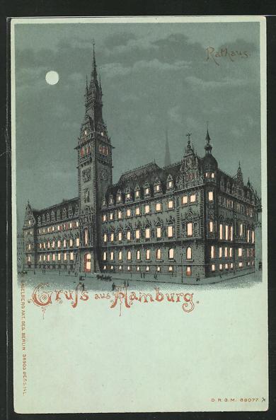 AK Hamburg, Rathaus im Mondschein, Halt gegen das Licht 0