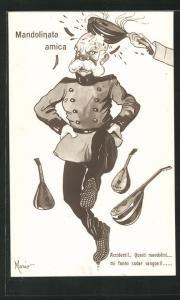 AK Kaiser Franz Josef I. von Österreich bekommt einen Schlag mit der Mandoline, Propaganda Entente