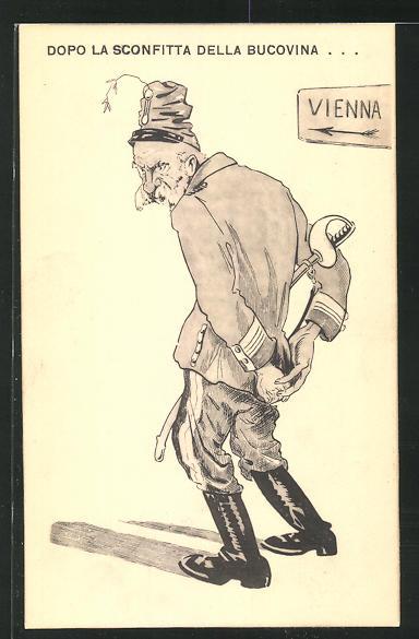 AK Kaiser Franz Josef I. von Österreich hält die Hände hinter dem Rücken, Propaganda Entente 0